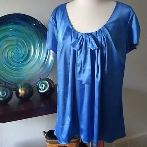 Blue cap sleeve blouse with bow